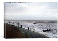 A Grey Day at Cleveleys. , Canvas Print