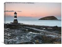 Penmon Lighthouse and Puffin Island., Canvas Print