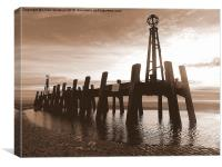 St Annes Pier in Sepia. , Canvas Print