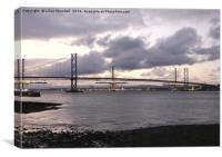 Dusk over the Forth Road Bridge., Canvas Print