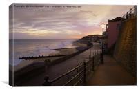 Sunrise over Cromer Promenade. , Canvas Print