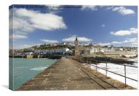 Porthleven from the Stone Pier., Canvas Print