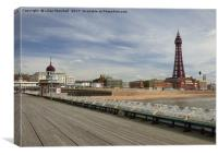 Blackpool Promenade from North Pier. , Canvas Print