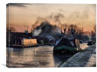 Sunset on the Frozen Lancaster Canal, Canvas Print