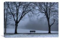 Bench in the park., Canvas Print