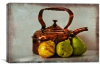 Copper kettle with pears, Canvas Print