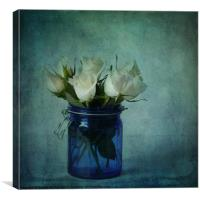 Roses in a blue jar, Canvas Print