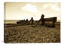Sea Defences In Duotone, Canvas Print