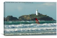 SURFER AT THE LIGHTHOUSE , Canvas Print