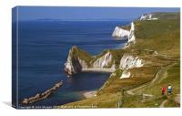 Dorset coastal path., Canvas Print