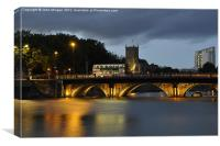 Bristol Bridge at dusk., Canvas Print