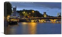 Bristol Bridge at dusk., Canvas Print