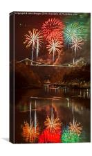 Fireworks on the Bridge., Canvas Print