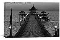 Clevedon pier at dusk., Canvas Print