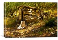 Olive Grove Shelter & Rusty Chair