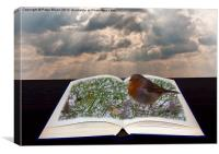 Pop-up open Book with Robin, Canvas Print