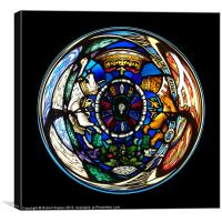 Spherical Stained glass on black, Canvas Print
