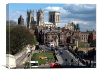York Minster and roman walls., Canvas Print