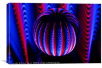 Abstract art Blue and red in the glass ball., Canvas Print