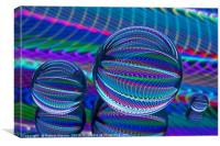 Abstract art Three Glass balls in LED colour, Canvas Print