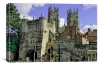 York Walls Cityscape and Minster, Canvas Print