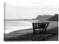Bench at Sandsend,Whitby,Yorkshire., Canvas Print