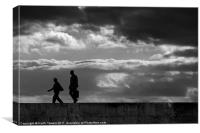 Evening stroll Silhouette Canvases & Prints