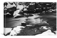 Snowy Waterfall Mono, Canvas Print