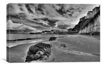 Tenby North Beach in Monochrome, Canvas Print