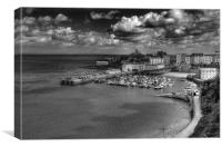 Tenby Harbour in Monochrome, Canvas Print