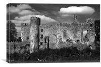 Laugharne Castle Monochrome, Canvas Print
