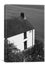 The Boathouse at Laugharne Monochrome, Canvas Print
