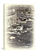 Gushing Water toned, Canvas Print