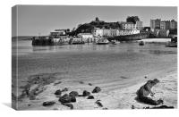 Tenby Harbour from North Beach Mono, Canvas Print