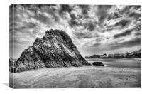 Goscar Rock Tenby Pembrokeshire 2 Mono, Canvas Print