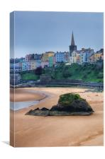 Tenby over North Beach painted, Canvas Print