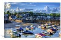 Across Saundersfoot Harbour Painted, Canvas Print