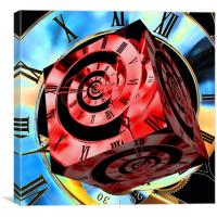 Infinity Time Cube Red on Blue, Canvas Print