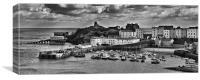 Tenby Panorama 1 Mono, Canvas Print