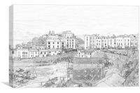 Tenby Harbour Pencil Sketch 2, Canvas Print