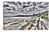 Langland Bay Painterly, Canvas Print