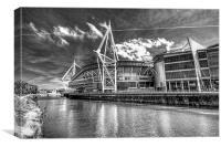 Wales Millennium Stadium 3 Mono, Canvas Print