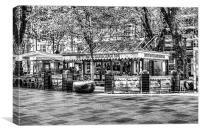 Hayes Island Snack Bar Cardiff mono, Canvas Print