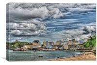 Tenby Harbour Texture Effect, Canvas Print