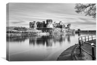 Caerphilly Castle Long Exposure 3 Mono, Canvas Print