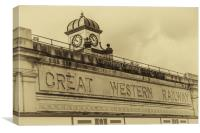 Cardiff Central Station Vintage, Canvas Print