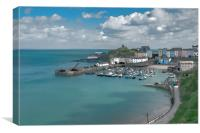 Tenby Harbour Ink Painting, Canvas Print