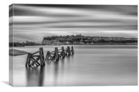 Four Minutes At Cardiff Bay Mono, Canvas Print