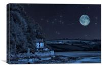 Dylan Thomas Boathouse Stars And Moon, Canvas Print