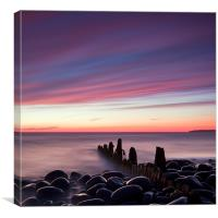 Groynes At Dusk, Canvas Print